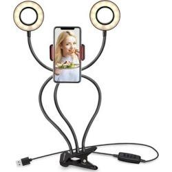 eDooFun Camera Mounts Black - Black Clip-On USB Two LED Ring Light & Phone Holder found on Bargain Bro from zulily.com for USD $18.99