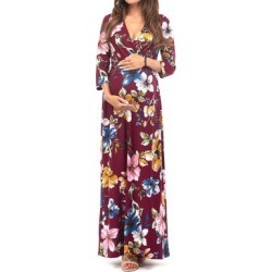 Mother Bee Maternity Women's Maxi Dresses Burgundy-28 - Burgundy Floral Maternity Three-Quarter Sleeve Surplice Maxi Dress found on Bargain Bro Philippines from zulily.com for $11.99