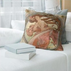Porch & Den Alphonse Mucha 'The Dance' Throw Pillow (14 x 14 - Pink & Brown - Synthetic Fiber), Green found on Bargain Bro from Overstock for USD $37.23