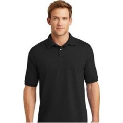 petite Hanes Eco Smart Men's Jersey Knit Sport Polo Shirt (M - Black) found on Bargain Bro India from Overstock for $20.04