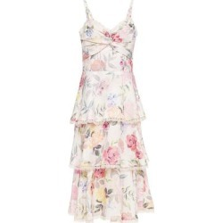 Tiered Guipure Lace-trimmed Floral-print Satin-twill Mini Dress Pastel Pink - Pink - Marchesa notte Dresses found on MODAPINS from lyst.com for USD $112.00