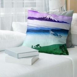 Porch & Den Katsushika Hokusai 'Tama River in Musashi Province' Throw Pillow (18 x 18 - Purple & Green - Polyester), Multicolor found on Bargain Bro from Overstock for USD $44.45