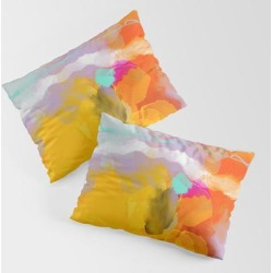 Pillow Sham | Yellow Blush Abstract by Lalunetricotee Art Paintings - STANDARD SET OF 2 - Cotton - Society6 found on Bargain Bro from Society6 for USD $30.39