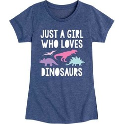 Instant Message Girls' Tee Shirts HEATHER - Heather Navy 'Just a Girl Who Loves Dinosaurs' Short-Sleeve Tee - Toddler & Girls found on Bargain Bro from zulily.com for USD $9.11