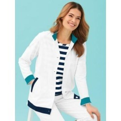 Women's Contrast-Trim Knit Jacket, White M Misses found on Bargain Bro India from Blair.com for $29.99
