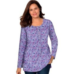 Plus Size Women's Perfect Printed Long-Sleeve Henley Tee by Woman Within in Soft Iris Lovely Ditsy (Size L) found on Bargain Bro Philippines from fullbeauty for $19.99