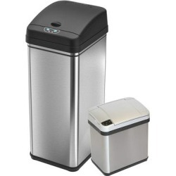 iTouchless Trash Cans Brush - Two-Piece Rectangular Stainless Steel Sensor Trash Can Set found on Bargain Bro India from zulily.com for $109.99
