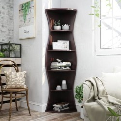 Porch & Den Stonebridge Hill Curvy Walnut Wood Corner Bookcase (Walnut), Brown found on Bargain Bro from Overstock for USD $129.84