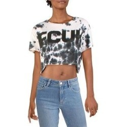 French Connection Womens Crop Top Tie-Dye Logo - White Multi (XS), Women's(cotton) found on MODAPINS from Overstock for USD $13.99