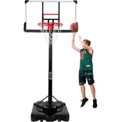 MKYUHP Portable Basketball Hoop & Goal, Outdoor Basketball System w/ Adjustable Height Of 6.6-10 Feet, Teenagers, Adults in Black/Red   Wayfair found on Bargain Bro Philippines from Wayfair for $313.55