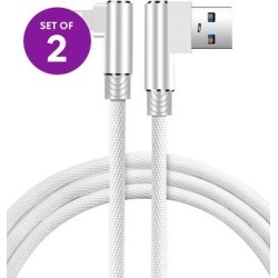 KINBOOFI Lightning Cables White - 6.5' White Right-Angle Lightning Cable - Set of Two found on Bargain Bro from zulily.com for USD $7.59