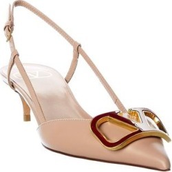 Valentino Vlogo Leather Slingback Pump (37.5), Women's, Beige found on Bargain Bro Philippines from Overstock for $713.90