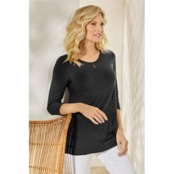 Women Elena 3/4 Sleeve T-shirt by Soft Surroundings, in Black size 1X (18-20)