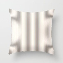 Couch Throw Pillow | Warm Taupe Stripes by Sara Valor - Cover (16