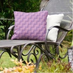 Rockport Color Contrast Basketweave Indoor/Outdoor Pillow by Havenside Home (18 x 18 - Purple & Pink - UV Resistant), Multicolor(Synthetic Fiber, found on Bargain Bro Philippines from Overstock for $59.99