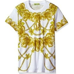 petite Versace Jeans Mens White TShirt Gold Floral Design Short Sleeves (S), Men's, Multicolor found on Bargain Bro Philippines from Overstock for $104.99