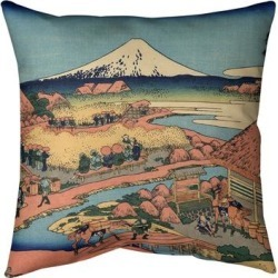 Porch & Den Katsushika Hokusai 'The Tea Plantation of Katakura' Throw Pillow found on Bargain Bro from Overstock for USD $51.67