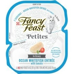 Fancy Feast Petites In Gravy Ocean Whitefish Entree Grain-Free Wet Cat Food, 2.8-oz, case of 12 found on Bargain Bro from Chewy.com for USD $9.76