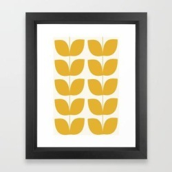 Framed Art Print | Mid Century Modern Leaves Yellow by Mahe`s Art Shop - Vector Black - X-Small-10x12 - Society6 found on Bargain Bro India from Society6 for $43.19