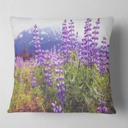 Designart 'Meadow in Alaska with Purple Flowers' Floral Throw Pillow found on Bargain Bro from Overstock for USD $27.35