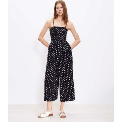 Diamond Smocked Strappy Jumpsuit - Black - LOFT Jumpsuits found on Bargain Bro India from lyst.com for $100.00