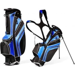 Costway Golf Stand Cart Bag with 6-Way Divider Carry Pockets-Blue found on Bargain Bro from Costway for USD $70.64