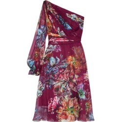 One-shoulder Pleated Floral-print Chiffon Dress - Purple - Marchesa notte Dresses found on MODAPINS from lyst.com for USD $268.00