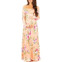 Mother Bee Maternity Women's Maxi Dresses PeachPrnt - Peach Floral Maternity Off-Shoulder Maxi Dress found on Bargain Bro from zulily.com for USD $11.39