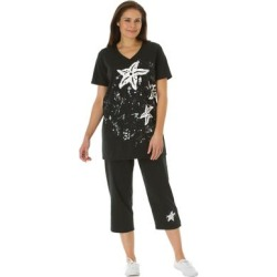 Plus Size Women's Starfish Tunic and Capri Set by Woman Within in Black Starfish (Size 1X) found on Bargain Bro Philippines from fullbeauty for $34.99