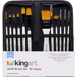 KINGARTTM Art Paintbrushes - 12-Pc. Artist Brush Set & Case found on Bargain Bro India from zulily.com for $14.79