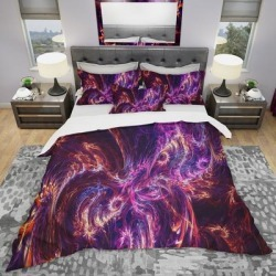 Designart 'Abstract Tidal Wave At Night' Modern & Contemporary Bedding Set - Duvet Cover & Shams (Full/Queen Cover +2 Shams (comforter not included)), found on Bargain Bro from Overstock for USD $98.79