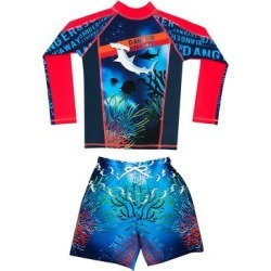 Color Fingers Boys' Board Shorts - Red & Blue 'Danger' Sharks Long-Sleeve Rashguard Set - Boys found on Bargain Bro Philippines from zulily.com for $42.99