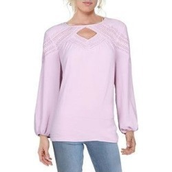 Vince Camuto Womens Blouse Keyhole Lace Trim - Ice Pink (S), Women's, White Pink found on Bargain Bro India from Overstock for $29.54