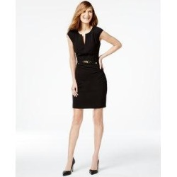 Calvin Klein Wome's Buckled Sheath Dress Black Size 2 (Black), Women's found on Bargain Bro from Overstock for USD $21.89