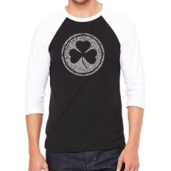 Los Angeles Pop Art Men's Raglan Baseball Word Art T-shirt - LYRICS TO WHEN IRISH EYES ARE SMILING (Black / White - s) found on Bargain Bro India from Overstock for $25.19
