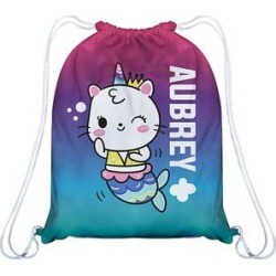 Vive La Fete Girls' Backpacks - Purple & Aqua Mermaidcat Personalized Drawstring Backpack found on Bargain Bro India from zulily.com for $17.99