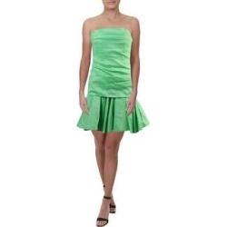 Halston Heritage Women's Ruched Peplum Drop Waist Strapless Mini Dress - Summer Green (10)(nylon) found on MODAPINS from Overstock for USD $47.89