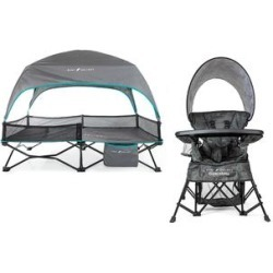 Baby Delight High Chairs Carbon - Teal & Gray Bungalow Toddler Cot & Carbon Camo Deluxe Portable Chair found on Bargain Bro Philippines from zulily.com for $99.99