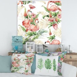 Designart 'Pink Flamingos With Tropical Flowers & Gold Leaves' Traditional Canvas Wall Art Print found on Bargain Bro Philippines from Overstock for $39.49