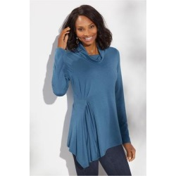 Women's Carissa Turtleneck Top by Soft Surroundings, in Bluestone size XS (2-4)