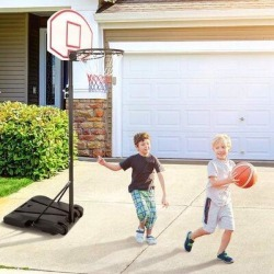 weilaicheng Portable Height Adjustable Basketball Hoop Stand, 28 Inch Backboard, Basketball Goals Indoor/OutdoorSteel in Red/Black   Wayfair found on Bargain Bro Philippines from Wayfair for $149.99