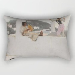 Rectangular Pillow   Classical Masterpiece Capri Girl On A Rooftop By John Singer Sargent by Jeanpaul Ferro - Small (17