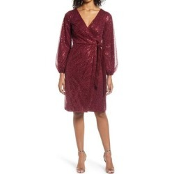 Beaded Long Sleeve Faux Wrap Dress - Red - Chi Chi London Dresses found on MODAPINS from lyst.com for USD $78.00