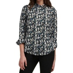 DKNY Womens Blouse Black Blue White Size Medium M Button Down Printed (M), Women's(polyester) found on Bargain Bro India from Overstock for $22.98
