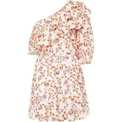 Irene One-shoulder Ruffled Metallic Fil Coupé Floral-jacquard Playsuit - Red - Maje Tops found on MODAPINS from lyst.com for USD $138.00