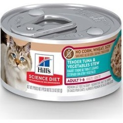 Hill's Science Diet Adult 1-6 Tender Tuna & Vegetables Stew Canned Cat Food, 2.9 oz, case of 24 found on Bargain Bro from Chewy.com for USD $26.08
