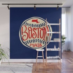 Hand Drawn Baseball For Boston With Custom Lettering Wall Mural by Goodwordsco - 8' X 8' found on Bargain Bro India from Society6 for $239.99