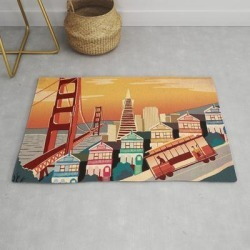 Modern Throw Rug | San Francisco New Art Love Illustration Cute Cover Case Skin Floor Pillow 2018 Trend Popular Sticker by Ams95 - 2' x 3' - Society6 found on Bargain Bro from Society6 for USD $29.79