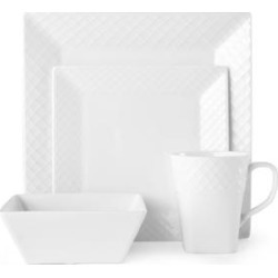 Mikasa Trellis Square Bone China 16 Piece Dinnerware Set (Service for 4) found on Bargain Bro India from Overstock for $116.99