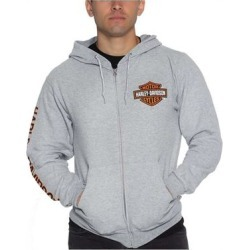 Harley-Davidson Men's Bar & Shield Logo Zip-Up Poly-Blend Hoodie - Heather Gray found on Bargain Bro Philippines from Overstock for $62.95